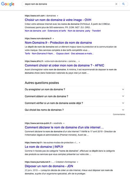 Page de résultats Google